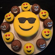 Party Supplies Ideas Emoji Cake And Cupcakes Emoji Cake Cupcake Cakes 10 for Emoji Birthday Party Cu Cupcake Party, Party Cakes, Cupcake Cakes, Cupcake Ideas, Pear And Chocolate Cake, 10 Birthday Cake, Birthday Ideas, Savoury Cake, Mini Cakes