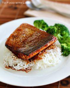 Crispy-Skin Salmon Teriyaki: cooks salmon staring with a cold pan for crispness