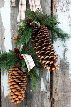 Pinecone Hanger, Pinecone, Pine, Linen Plaid Ribbon.