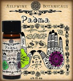"""All Natural Perfume Oil- """"Padma""""  by Aelfwine Botanicals-- Padma is an absolutely intoxicating scent with billowing top notes of mango and coriander, rare & illusive agarwood, siam wood, spicy amber, artemesia, and some secret sauce. Full and lively, and dries down to a very sultry, alluring wood."""