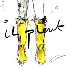 """Il pleut - It's raining again - det regnar ...This is a crazy summer! #supergirl #rain #boots #hunters #art #arte #draw #doodle #drawing #fashion…"""
