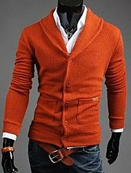 Men's Pure Cardigan , Cotton Blend Long Sleeve