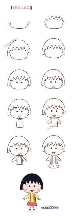How to draw Chibi Maruko, who grew up chrysanthemum from the matrix
