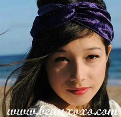Velvet Turban Headband Turband Headband Purple by beauxoxo on Etsy, £7.00