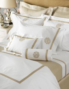 Matouk Lowell Luxury Bed Linens - White or Ivory percale sheeting with contrasting tape detail 600 thread count Egyptian cotton woven in Italy. Duvet covers have flange. Duvet covers have tape on three flanges and in a U-shape on top of the Monogram Bedding, Applique Monogram, Monogram Pillowcase, Monogram Shop, Monogram Gifts, Personalized Gifts, Cire Trudon, Camas King, Luxury Bedding Sets