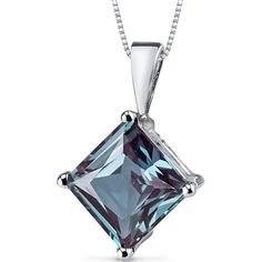 3 CT TW Alexandrite 14K Polished White Gold Pendant Necklace