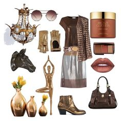 """Bronze n Brown"" by sarahcanavan ❤ liked on Polyvore featuring Gucci, Hudson, Brahmin, Warehouse, Golden Goose, GlassesUSA, Estée Lauder, Global Views, Fabrizio Lenzi and Lime Crime"