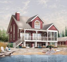 1876 sq can have basement Lakefront House Plan chp-32672 at COOLhouseplans.com