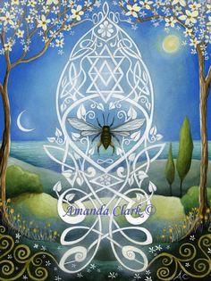 Sacred Bee  Art print by Amanda Clark. by earthangelsarts on Etsy, £18.00