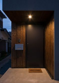 Name Plate Design, Entrance Lighting, Main Door Design, Minimalist Home, Interior Architecture, Interior Decorating, New Homes, House Design, Facade