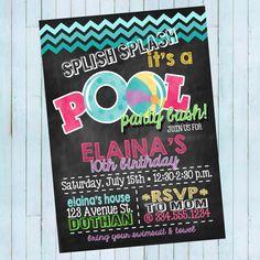 Pool Party Birthday Invitation | Splish Splash Party | Beach Party | Digital Invitation by LaLoopsieInvites on Etsy