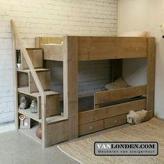 Home Room Design, Bed Design, Bedroom Themes, Kids Bedroom, Oak Bathroom Cabinets, Wood Bunk Beds, Kids Wood, Kid Beds, House Rooms