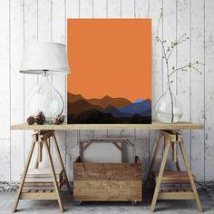 Minimalist Mountain Art Print Ready to Hang Orange Mountain