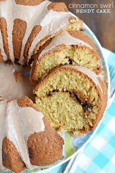 "This Cinnamon Swirl Bundt cake recipe would make a delicious breakfast or dessert! The cinnamon glaze is just the ""icing on the cake!"""