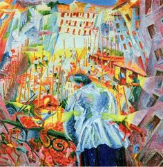 Futurism Art Movement - 'The street enters the house' Umberto Boccioni painting I really like the colours used in this piece. The bight colours really stand out making this piece captivating. Italian Painters, Italian Artist, Futurist Painting, Umberto Boccioni, Dynamic Painting, Italian Futurism, Futurism Art, Modern Art Styles, Art History