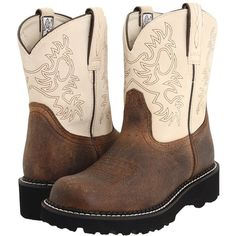 Ariat Fatbaby Sheila Cowboy Boots ($85) ❤ liked on Polyvore featuring shoes, boots, knee-high boots, platform boots, ariat boots, western boots, steel boots and lightweight boots