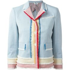 Thom Browne Frayed Edge Buttoned Jacket ($1,884) ❤ liked on Polyvore featuring outerwear, jackets, blue, colorful jackets, blue jackets, thom browne, multi colored jacket and thom browne jacket