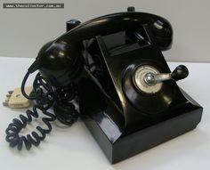 Lot 257 - Vintage black Bakelite crank handle telephone