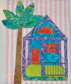 House quilt by Cheryl Lynch Quilts: January 2012.  Inspired by the conch houses in Key West, Florida.