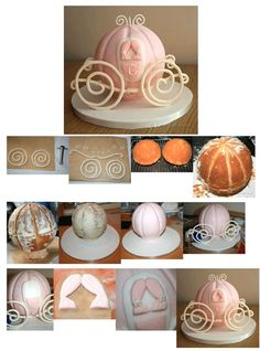 How to create a Cinderella carriage cake. http://www.cake-talk.co.uk/blog/cinderellas-coach-cake-tutorial/