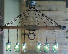 "Original Horse Drawn Wagon Single Tree Yoke ~ Mason Jar Light Chandelier 40 ""L- … – Farm House Boho Bedroom Decor Primitive Lighting, Farmhouse Lighting, Rustic Lighting, Cool Lighting, Lighting Ideas, Cottage Lighting, Outdoor Lighting, Mason Jar Chandelier, Mason Jar Lighting"