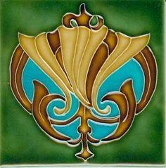 Art Tile, Art Nouveau Design Gold, Brown, and Turquoise on Green Design Art Nouveau, Art Design, Decoration, Art Decor, Art Deco Fireplace, Azulejos Art Nouveau, Decorative Wall Tiles, Jugendstil Design, Vintage Tile