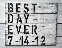 "Reclaimed Wood Wedding Sign ""Best Day Ever"", Wedding Date Sign , Family Established Sign , Vintage Wedding Sign on Etsy, $115.00"