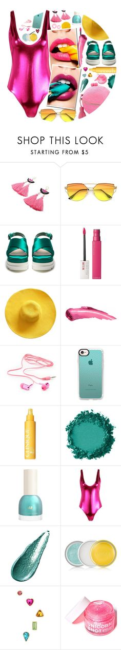 """Metallic Swimwear: Candy Girl"" by the-amj ❤ liked on Polyvore featuring Serpui, Miu Miu, Maybelline, Charlotte Russe, Casetify, Clinique, Boohoo, Illamasqua, Giorgio Armani and Betsey Johnson"