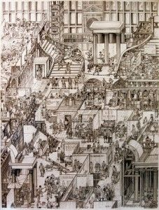 Adam Dant - At age eight he recalls being asked to decorate the entire school play set for a production of Alice in Wonderland. Drawing Artist, Painting & Drawing, Graphite Drawings, Art Drawings, Isometric Drawing, Drawing Projects, Sense Of Place, Paintings I Love, Urban Landscape