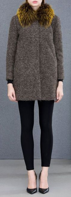 brown wool blend winter coat with fur collar