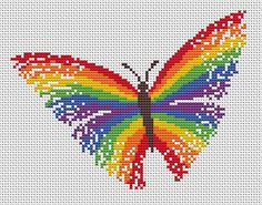 Striking and bright cross stitch pattern of a magical rainbow butterfly. • Stitch count: 89 wide x 68 high • Approximate size on 14 count                                                                                                                                                      More
