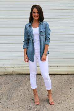 This outfit has Heather written all over it! Love love the denim with a white pant and camel colored wedges. Perfection!