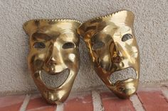 Actor's Comedy & Tragedy Drama Masks in Vintage by OnlyTreasures, $38.00