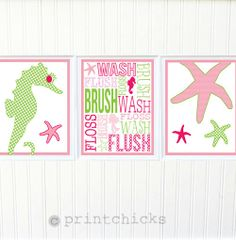 Mermaid Bath Prints Pottery Barn Girl Bathroom by PrintChicks, $30.00