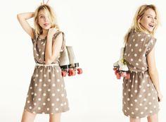 Madewell -Casual polka dot dress, roller skates.