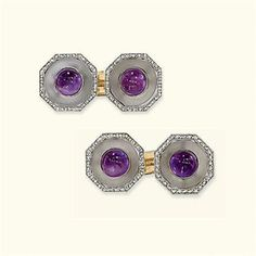 A PAIR OF EARLY 20TH CENTURY AMETHYST, ROCK CRYSTAL AND DIAMOND CUFFLINKS Each designed as pair of hexagonal-shaped panels with cabochon-cut amethyst centres to the rock crystal discs and rose-cut diamond surrounds, circa 1920 (2 Sold for $5,058