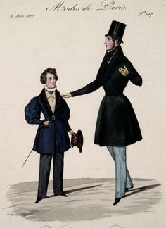 Dress for men and boys, 1835 France, Petit Courrier des Dames