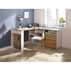 McConnell L-Shape Writing Desk – Home Office Design Layout Home Office Space, Home Office Design, Home Office Decor, Home Decor, L Desk, Boys Desk, Bedroom Corner, Bedroom Desk, Desk In Living Room