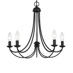 Cascadia Lighting Mirren 21-in 5-Light Imperial Bronze Wrought Iron Candle Chandelier..change black sleeves..this might be a good size