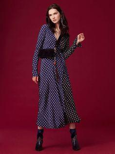 Diane Von Furstenberg Dvf Long-Sleeve Woven Wrap Dress - Chilton Dot Violet Combo 4