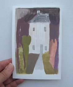 a house study in colour - smaller original gouache painting