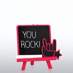 Bright desktop chalkboards are a great low cost gift for your team! Chalkboards include matching easel and chalk.
