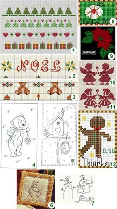 (1) NATALE /greche from Blog di Gloria (2) Noël traditionnel from les petites croix de Christine (3) Teddy bear border from les petites croix de Christine (4) Christmas teddy from Carrément piquée …