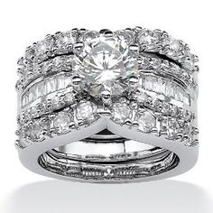 PalmBeach Jewelry Platinum Over Sterling Silver DiamonUltra™ Cubic Zirconia Wedding Ring Set