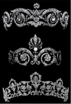 Three belle epoque tiara, circa 1900 on ward, by Chaumet that are something of a mystery. The top one reminds me of a  slightly flattened version of the Talhouet tiara, but the other two seem to have vanished without trace.