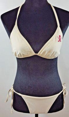 Island World Apparel Bikini Swimwear Size M White With Pink Skull Crossbones #IslandWorldAppare #Bikini