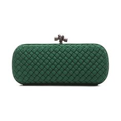 Bottega Veneta Long Knot Clutch (£1,080) ❤ liked on Polyvore featuring bags, handbags, clutches, woven leather handbag, woven handbag, green clutches and pochette