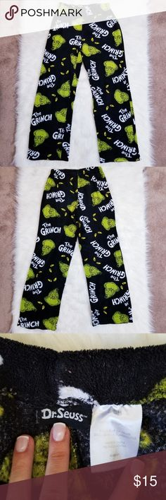 New Universal Studios Dr Seuss The Grinch Green Plaid Pajama Lounge Pants S-XL