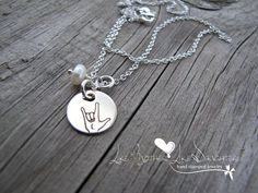 ASL Sign Language Sterling Silver Necklace hand stamped with pearl drop Silver Charm Bracelet, Silver Charms, Silver Bracelets, Sterling Silver Necklaces, Charm Jewelry, Silver Jewelry, Bracelet Charms, Jewelry Art, Silver Earrings