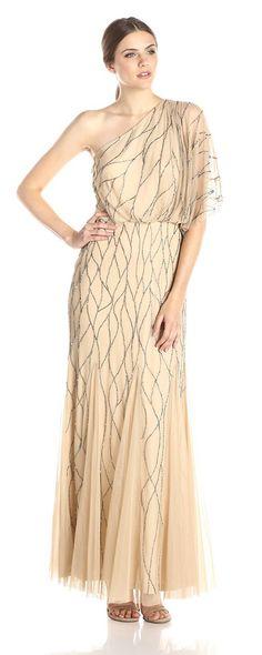 Adrianna Papell Women\'s One Shoulder Beaded Blouson Dress - Reviews ...